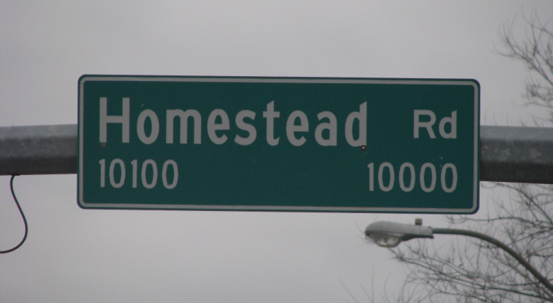 homestead street sign