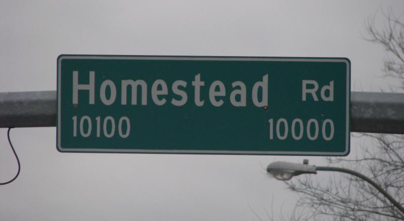 homestead street sign